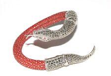 925 Brazalete pulsera serpiente plata y roja