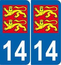 Département 14 sticker 2 autocollants style immatriculation AUTO BLASON LION