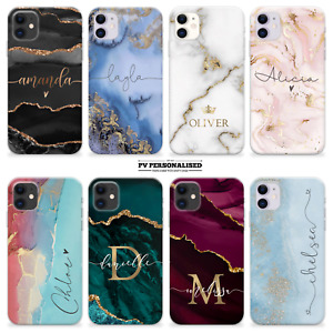 PERSONALISED MARBLE PHONE CASE NAME INITIALS SILICONE COVER FOR IPHONE 11 12 SE