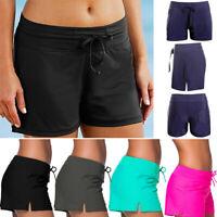 Plus Size Women Plain Swim Shorts Bikini Swimwear Boy Cut Sport Beach Bottoms