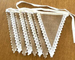 Jute Wimpelkette mit Spitze ca. 2,2m Shabby, Vintage, Boho Hochzeit Deko