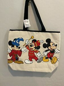 NWT Disney Parks Mickey Mouse DOUBLE SIDED Canvas Travel Bag Tote