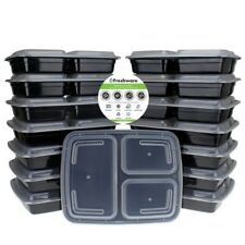 15 Meal Prep Containers Food Storage 3 Compartment Plastic Reusable Microwavable