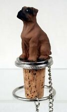 Doberman Red Uncropped Dog Hand Painted Resin Figurine Wine Bottle Stopper