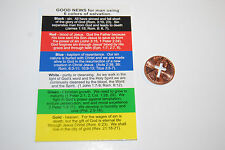Cross Penny + Plan Of Salvation Card punch cut out coin Witness Jesus Christian