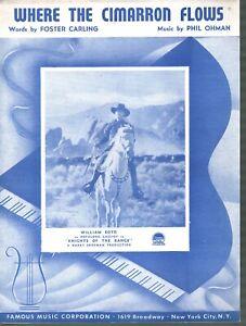 Where the Cimarron Flows 1939 William Boyd (Hopalong Cassidy) Sheet Music