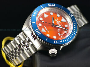 Invicta Men's 47mm Pro Diver SEA WOLF Automatic Blue Bezel Orange Dial SS Watch