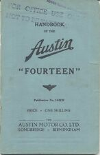 Austin Fourteen 14 original Handbook 1938 Pub. No. 1432 B