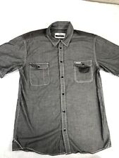 Orisue Mens short Sleeve Bowling Style Button Up Short Gray Size X Large