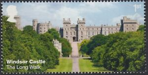 Windsor Castle - The Long Walk  illustrated on 2017 unmounted mint GB stamp
