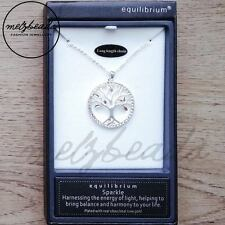 Equilibrium Silver & Rose Gold Tree of Life Long Pendant Necklace Gift Women Her