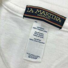 NEW La Martina Saddlery Men's T-Shirt Tee White Cotton Crewneck • SMALL