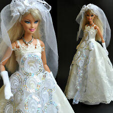 Nice 'WEDDING COLLECTION'-Barbie Doll White princes Dress (No.5) for xmas Gift