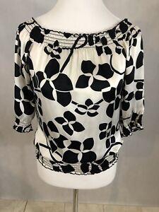 Women's WHITE HOUSE BLACK MARKET Black White 3/4 Sleeve Silk Blouse Top Sz XS
