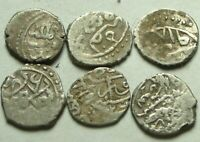 Lot 6 rare original Islamic silver Premium AKCHE coins Ottoman Empire Sultan