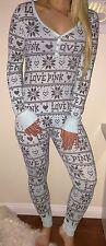 PINK Victoria's Secret VS Blue Gray Logo Thermal One Piece Nordic Pajamas Sz S