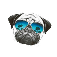 1pc Pug Dog Sticker Heat Transfer Badges Applique Iron-On Transfers for Clothing