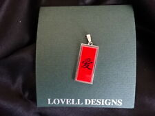 NEW LOVELL DESIGNS SILVER PENDANT NECKLACE-18in chain- JAPANESE LOVE SYMBOL/RED