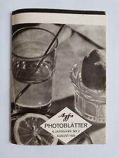 Agfa Photoblätter Heft Nr. 2 August 1929 * 6. Jahrgang * Wie fotografiert man?