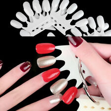 10Pcs False Nail Tips Color Card Nail Art Practice Crown Shape Display w/ Ring
