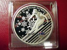 2010 Australia Large Silver Proof  $1 Vancouver Olympics -Slalom