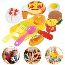 Kids Toy Pretend Role Cake Play Kitchen Food Cake Hamburger Pizza Cutting Set CA