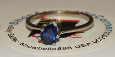14K SOLID WGold .75CTS NATURAL Pear Cut Blue Sapphire Solitaire Ring 2.3Gms Sze8