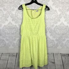 American Eagle Neon Yellow Eyelet Cut Out Mini Dress Size 12