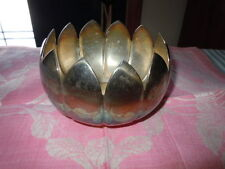 REED & BARTON SILVERPLATE LOTUS PETAL BOWL, FOIL LABEL AND IMPRESSED MARK #3002