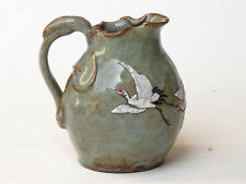 Antique Korean Celadon Yixing Porcelain Enamel Crane Wine Pot Korea
