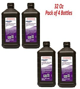 Equate 3% Hydrogen Peroxide Topical Solution, 32 fl oz 4 pack