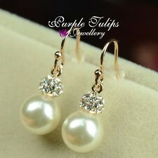 18CT Rose Gold Plated Elegant Pearl Dangle Earrings Made With Swarovski Crystals