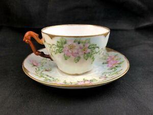 🟩 Antique T&V Tresseman & Vogt Limoges France Pink Roses Cup & Saucer Set