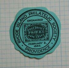 1885 Providence Ri Philatelic Society Souvenir Label Ad