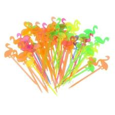 50pcs Flamingo Plastic Fork Reusable Fruit Toothpick Multi Color E0Xc