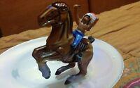 Modellino Gioco In Latta Cavallo e Indiano Carica In Molla Anni 60