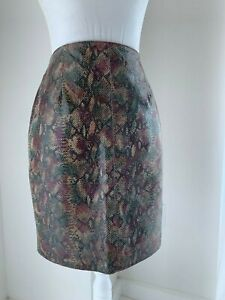 Neiman Marcus Brown Green & Burgundy Snakeskin Embossed Leather Skirt SZ 2 XS
