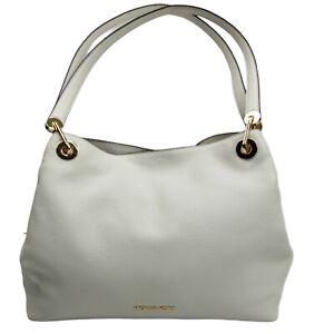 Michael Kors Raven Pebble Leather Tote Purse Handbag Optic White / Gold