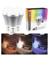 Nuglo Multi Colour Changing LED Bulb 3 Pack App Controlled Light Mood Timer WiFi