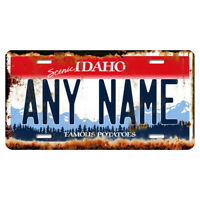 US Metal License Plate - Idaho Rusted, Personalise your own plate
