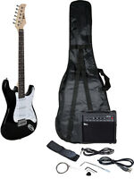 Starter Electric Guitar Package Full Size Gigbag 10W AMP Cord Strap Thin Black