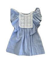 Zara Girls Blue And White Flutter Dress Age 5
