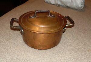 Vintage 2-5/8 qt. Bourgeat No.18 Copper Coated Saucepan Or Pot With Lid