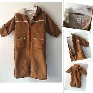 Baby Gap Unisex Baby Boys Or Girls Tan Sheepskin Style Pramsuit 3-6 Months