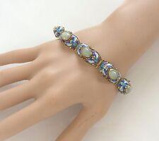 Vtg Chinese Silver Flourite Green Cloisonné Enamel Art Deco Filigree Bracelet