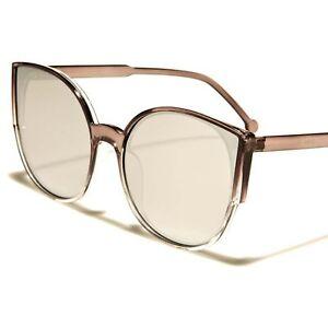 Classic Retro Look Womens Chrome Mirrored Lens Gray Round Cat Eye Sunglasses