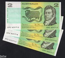 Australia R-88. (1983) 2 Dollars - Johnston/Stone. Consecutive Trio..  UNC