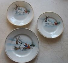 Vintage Made in Japan 3 pc set Winter scene Sled Dogs Snow Hd Ptd Childs tea set