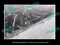 OLD LARGE HISTORIC PHOTO OF SHERINGHAM ENGLAND THE TOWN & PROMENADE c1920