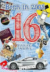 16th Birthday Boy Greeting Card Age 16 Teenager Born in Year 2005 Facts Inside